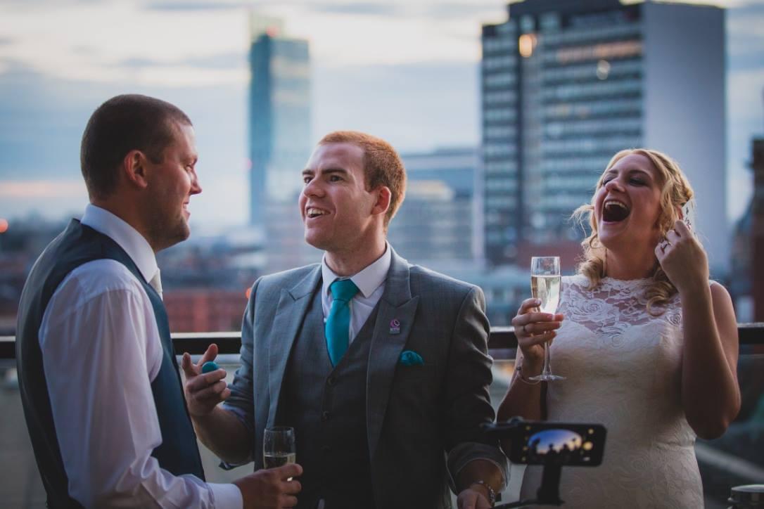 city wedding Hilton Manchester sam fitton manchester wedding magician photography CJL