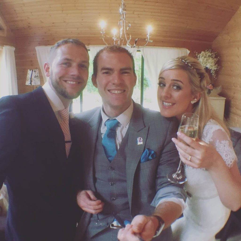 bride and groom selfie with styal lodge magician sam fitton